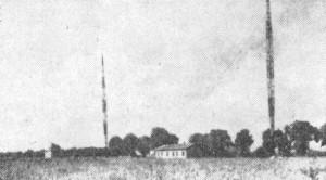 Vysílač ve Kbelích, dobová fotografie z první poloviny dvacátých let minulého století