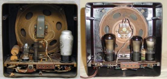 Triviální jednoduchost přijímače vynikne při pohledu do jeho útrob. Vlevo sítová verze DKE 38, vpravo pak bateriová DKE 38B. Elektronky /zleva/ u síťové verze jsou to: VY2, VCL11. Hned vedle elektronky VY2 jsou vidět filtrační kondenzátory a svislý odporový předřadník na nastavení napájecího napětí /120, 220V/. Bateriové rádio je pak osazeno o jednu elektronkou navíc, tedy: KL1 a dvakrát KC1.