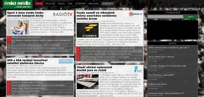 Předchozí vzhled webu Česká média do 15. ledna 2017