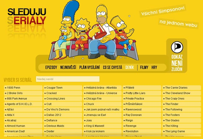 Screenshot webu SledujuSerialy.cz