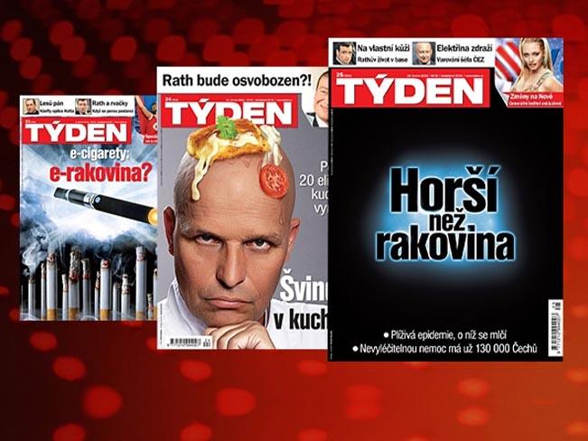Titulní strany týdeníku Týden, koláž Týden.cz