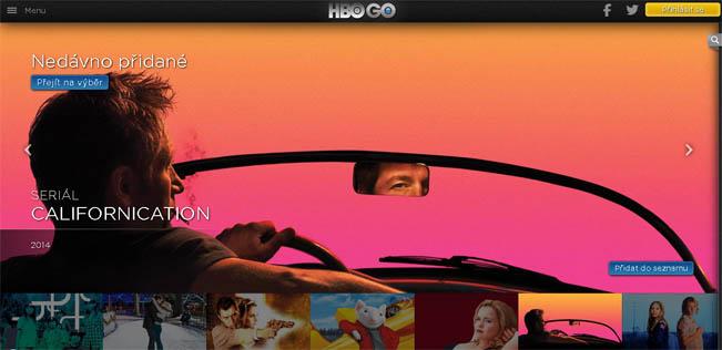 Úvodní obrazovka videotéky HBO GO