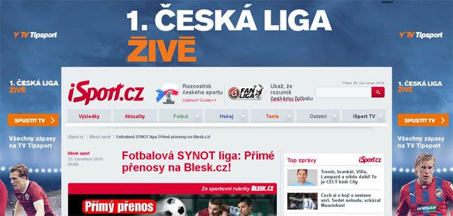 Weby Blesku i Sportu poutají na nejvyšší fotbalovou soutěž ve spolupráci se sázkovou kanceláří Tipsport