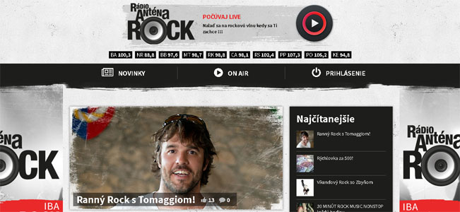 Screenshot nového webu Anténa rock rádia
