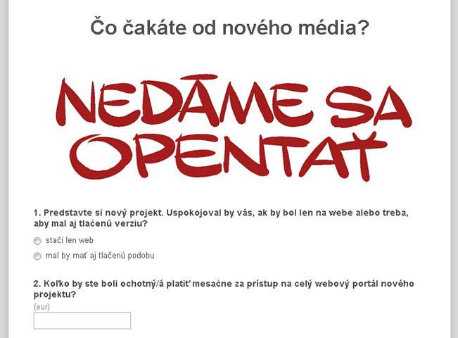Ukázka otázek průzkumu odcházejících šéfredaktorů deníku SME, kteří plánují nový projekt
