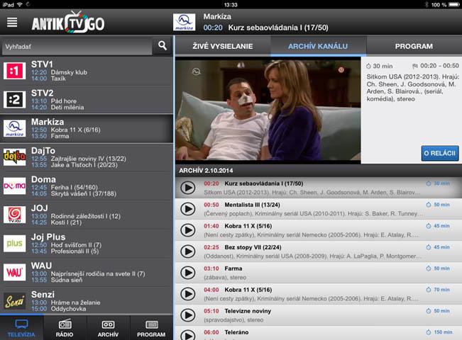 Ukázka mobilní služby Antik TV Go