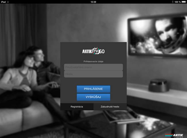 Úvodní obrazovka mobilní služby Antik TV Go