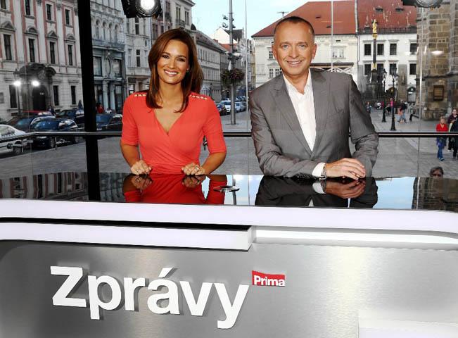 Klára Doležalová a Katel Voříšek v mobilním studiu TV Prima, foto: TV Prima