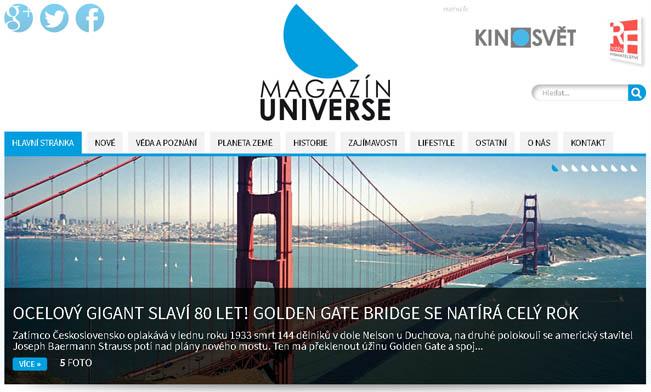 Screenshot webu Magazínu Universe