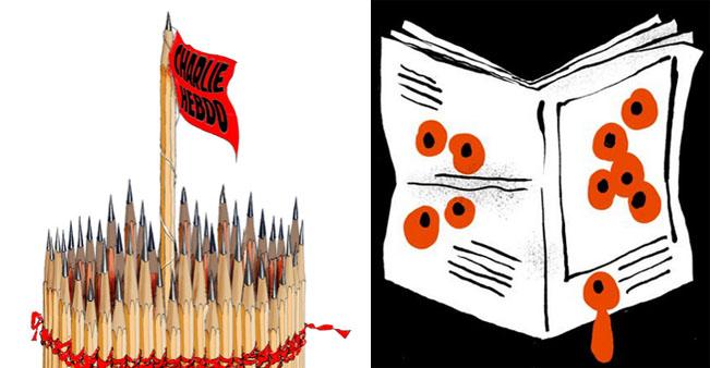 Autor karikatury vlevo: Riber Hansson, vpravo Maumoint. Zdroj: Twitter