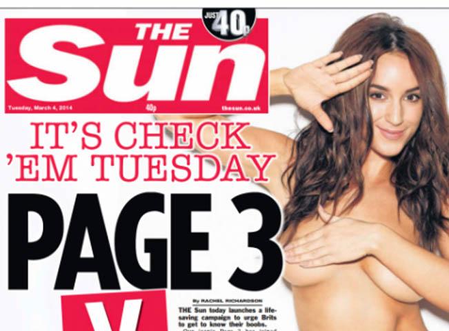 Ukázka tradiční třetí stránky bulváru The Sun