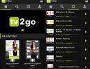 TV2Go: Úvodní obrazovka (vlevo) a přehled stanic