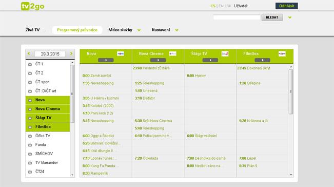TV2Go: ukázka programového průvodce na PC