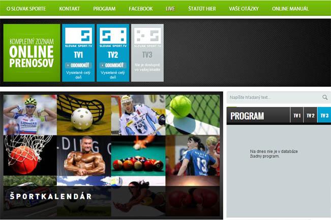 Screen webu SlovakSport.tv s portfoliem tří kanálů