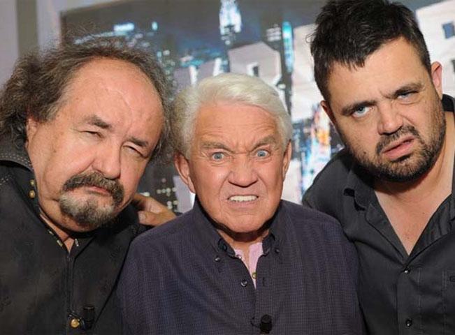 Pavel Novotný (vpravo) na tiskové konferenci televize Relax k pořadům Krampovoloviny a Novotný za humny, foto: TV Relax