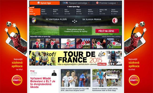 Screenshot hlavní stránky webu iSport.cz, jenž i letos láká na přímé přenosy Synot ligy