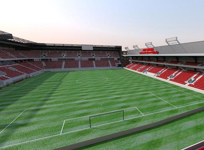 Vizualizace nového stadionu City aréna v Trnave, jenž byl otevřen 22. srpna. Foto Cityarena.sk