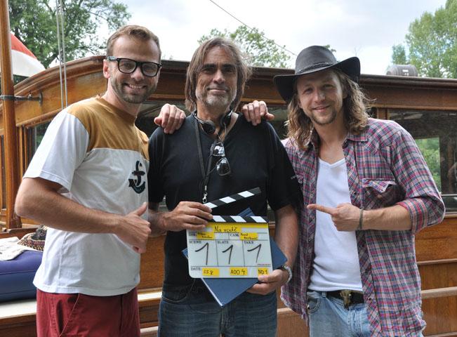 Lukáš Langmajer, režisér Milan Cieslar a Tomáš Klus, foto: TV Nova