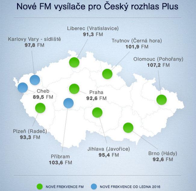 Síť vysílačů Českého rozhlasu Plus, zdroj: Český rozhlas
