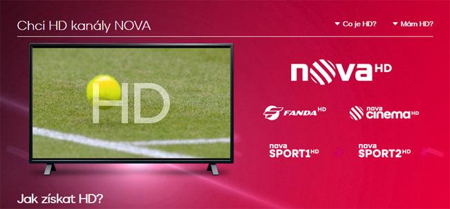 Ukázka online kampaně k HD kanálům. Screenshot webu Nova.cz/HD