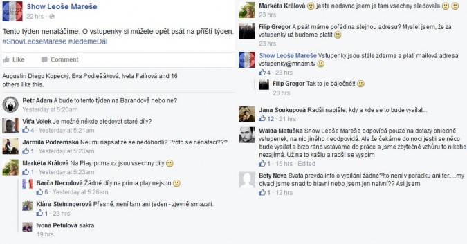 KLIKNUTÍM ZVĚTŠÍTE - Ukázka komunikace na FB profilu Show Leoše Mareše z úterý 17. listopadu