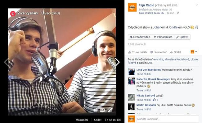 Ukázka streamingu Fajn rádia na Facebooku