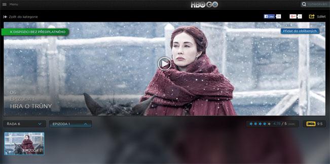 Prezentační obrazovka portálu HBO Go s titulem Game of Thrones, screenshot RadioTV