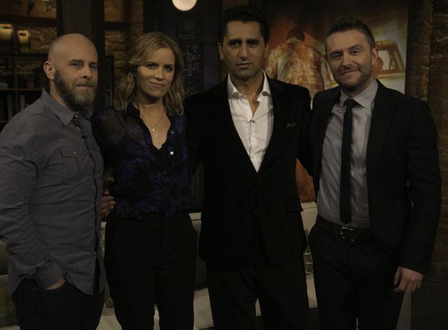 Dave Erickson, Cliff Curtis, Kim Dickens, Chris Hardwick v pořadu Talking Dead. Foto: Jordin Althaus pro AMC Networks
