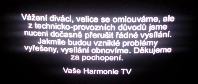 Textový oznam na programové pozici Harmonie TV. Foto - autor