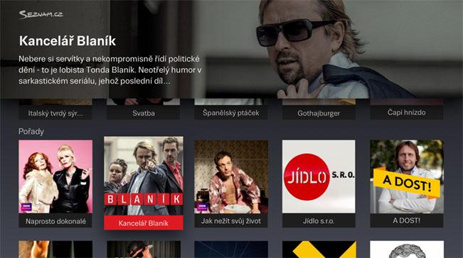Ukázka HbbTV aplikace, zdroj: Seznam.cz