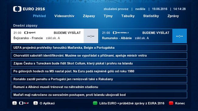 Úvodní obrazovka HbbTV aplikace České televize k EURO 2016