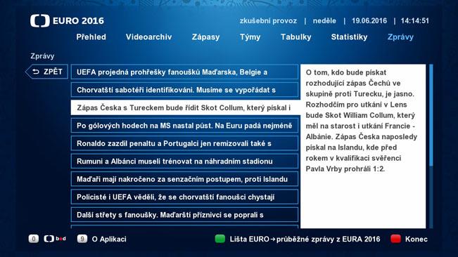 Zpravodajská část HbbTV aplikace České televize k EURO 2016