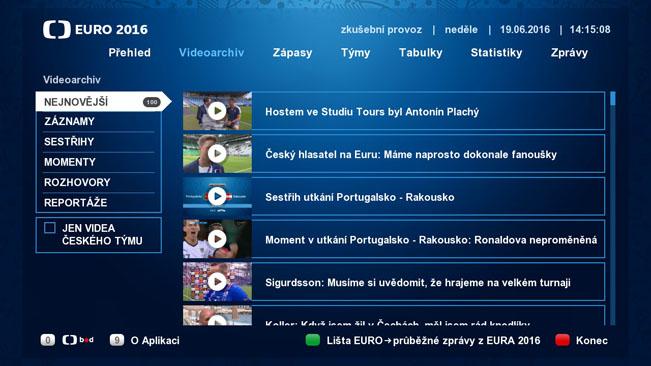 Náhled videoarchivu HbbTV aplikace České televize k EURO 2016