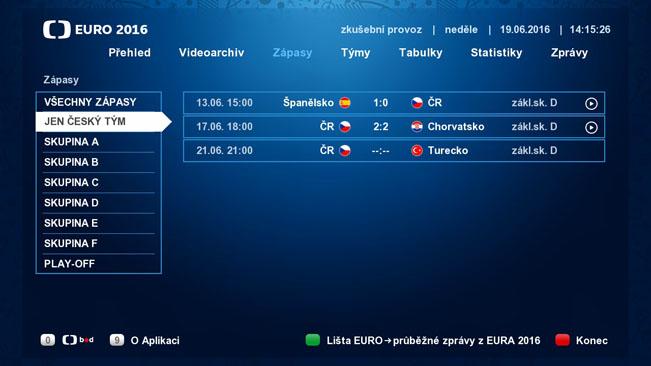 Náhled části Zápasy HbbTV aplikace České televize k EURO 2016