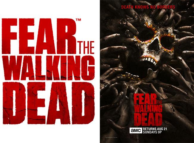 Aktuální logo seriálu Fear the Walking Dead (vlevo) a poutač na premiéru nových dílů v USA (vpravo). Materiály poskytla společnost AMC Networks International CE