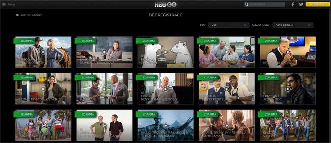 """Obrazovka služby HBO Go """"Bez registrace"""". Screenshot RadioTV"""