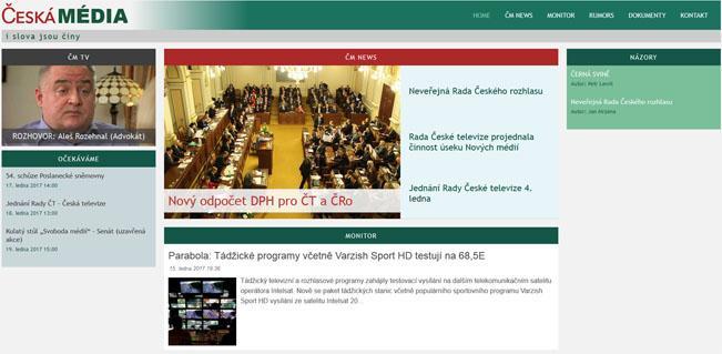 Nový vzhled webu Česká média připomíná ten původní před rokem 2013