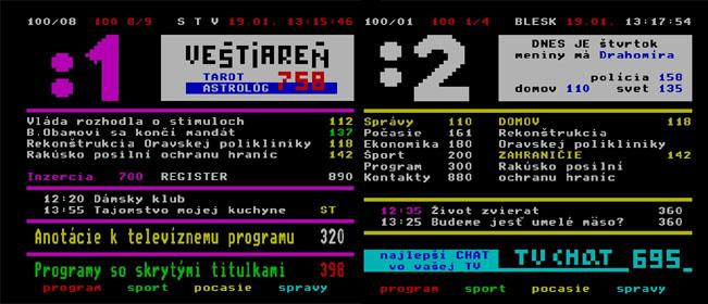 Slovenská RTVS vysílá na svých dvou programech odlišný teletext