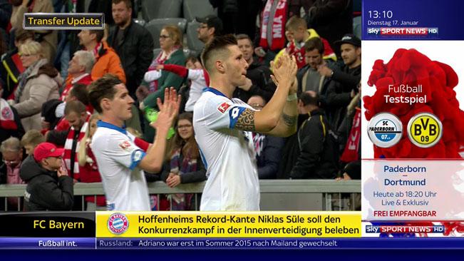 Screenshot z vysílání SKY Sport News HD včetně poutače na večerní fotbalový přenos