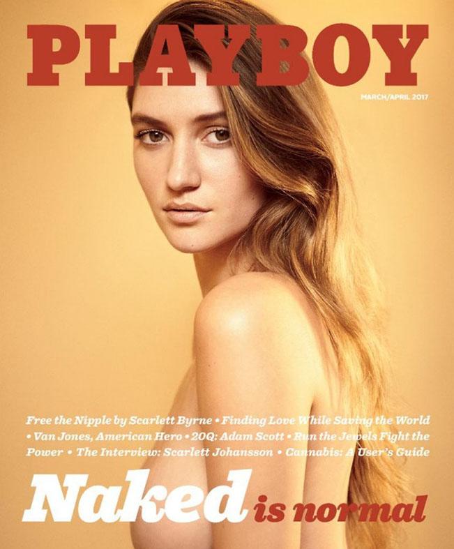 """Playmate Elizabeth Elam na obálce nejnovějšího čísla amerického magazínu Playboy a hlavní poselství, které zní: """"Nahota je normální"""". Foto: worldofplayboy.com"""