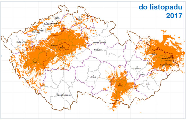 Uvažované pokrytí DAB Plus multiplexu Českého rozhlasu do listopadu 2017. Zdroj: Český rozhlas