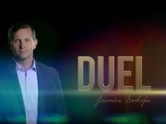Titulní grafika k pořadu Duel Jaromíra Soukupa. Zdroj: web Barrandov.tv