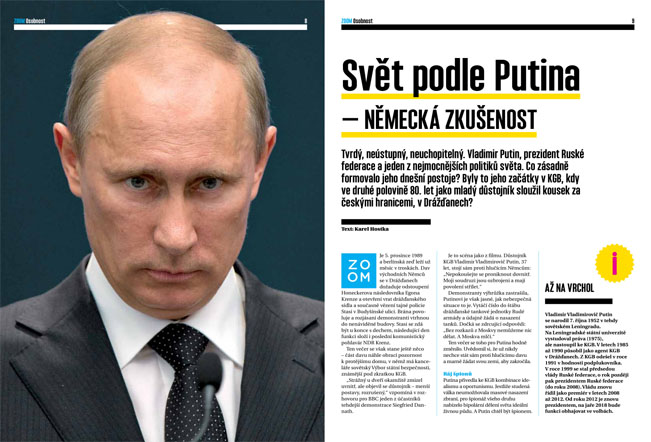 Ukázka článku Svět podle Putina v pilotním vydání časopisu Prima ZOOM. Foto: FTV Prima