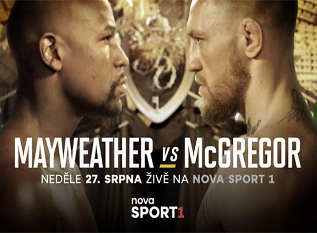 Poutač na zápas Mayweather - McGregor. Živý přenos uvede placená televize Nova Sport 1, záznam bude dostupný i v neplacené televizi na Nova Action