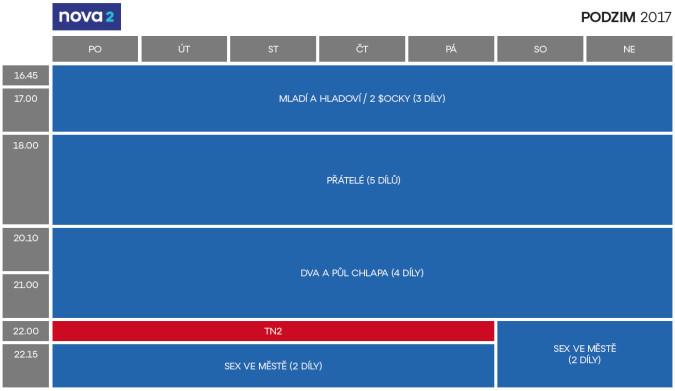KLIKNUTÍM ZVĚTŠÍTE - Programové schéma televize Nova 2 pro podzim 2017