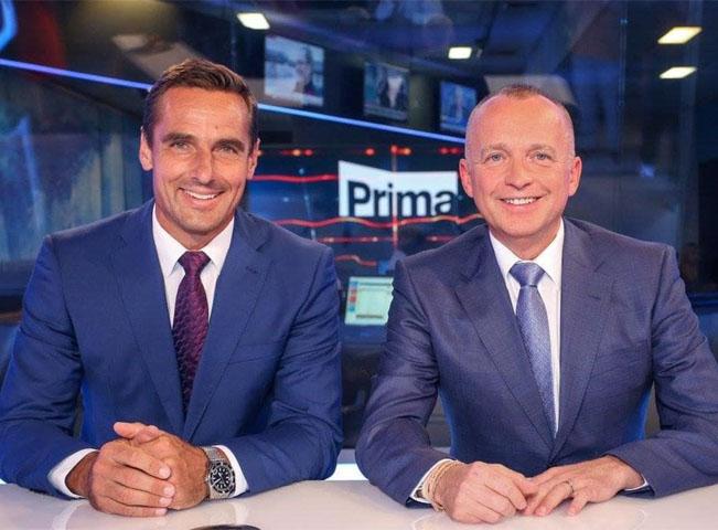 Roman Šebrle a Karel Voříšek ve zpravodajském studiu TV Prima. Zdroj: FTV Prima