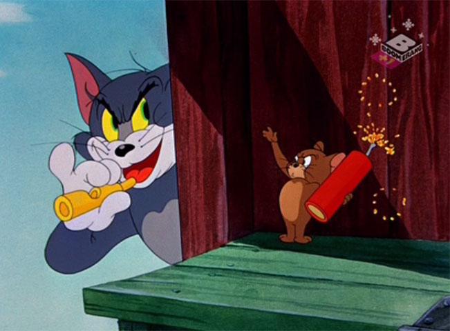 Kultovní grotesku Tom a Jerry lze vidět nejen na Cartoon Network, ale i na sesterské stanici Boomerang. Screenshot z vysílání britské verze Boomerang +1