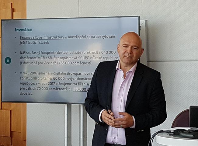 Generální ředitel UPC Česká a Slovenská republika Martin Miller. Foto: RadioTV.cz - foceno mobilním telefonem