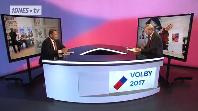 Jiří Paroubek byl hostem volebního studia iDnes.tv. Screenshot RadioTV.cz