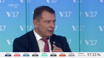 Jiří Paroubek ve volebním studiu TV Nova. Screenshot RadioTV.cz